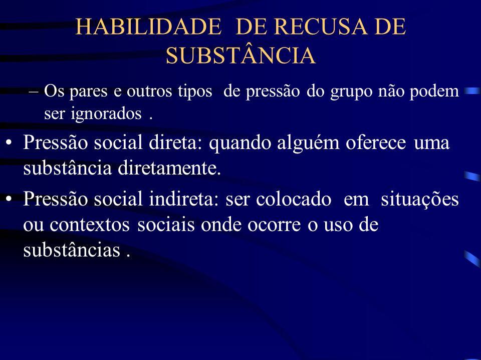 HABILIDADE DE RECUSA DE SUBSTÂNCIA –Os pares e outros tipos de pressão do grupo não podem ser ignorados. Pressão social direta: quando alguém oferece