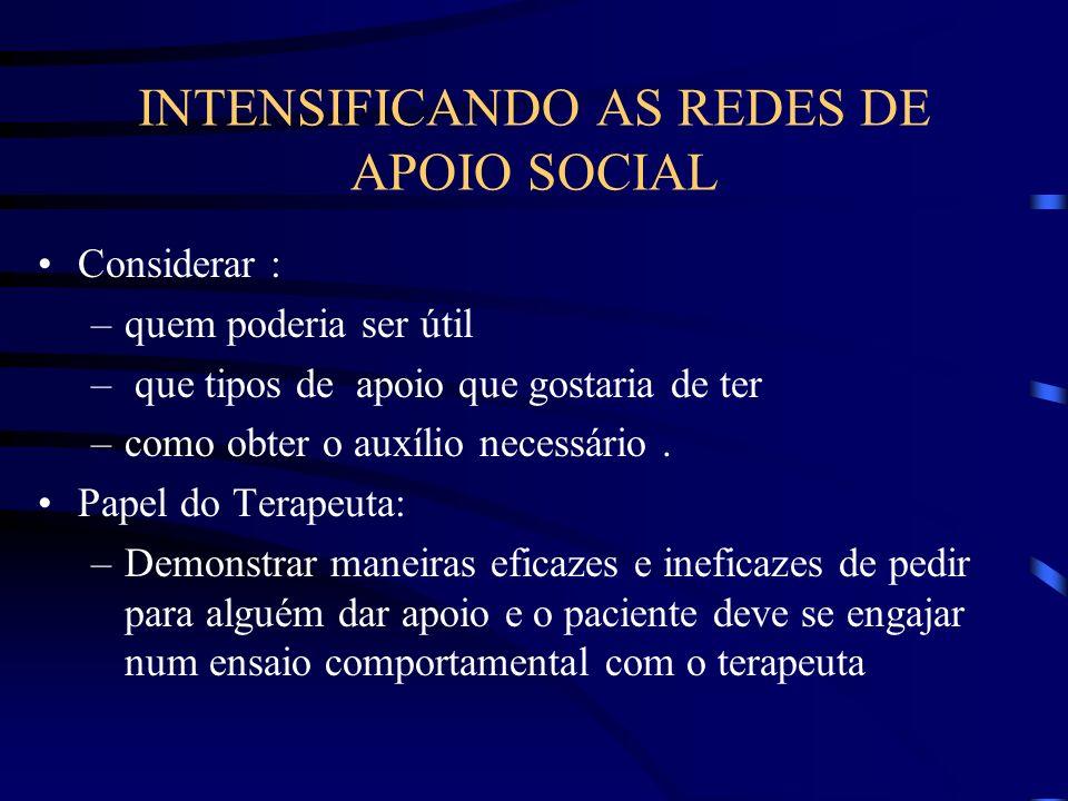 INTENSIFICANDO AS REDES DE APOIO SOCIAL Considerar : –quem poderia ser útil – que tipos de apoio que gostaria de ter –como obter o auxílio necessário.