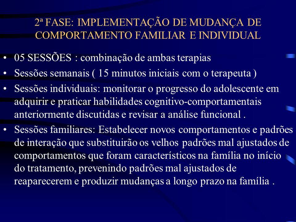 2ª FASE: IMPLEMENTAÇÃO DE MUDANÇA DE COMPORTAMENTO FAMILIAR E INDIVIDUAL 05 SESSÕES : combinação de ambas terapias Sessões semanais ( 15 minutos inici