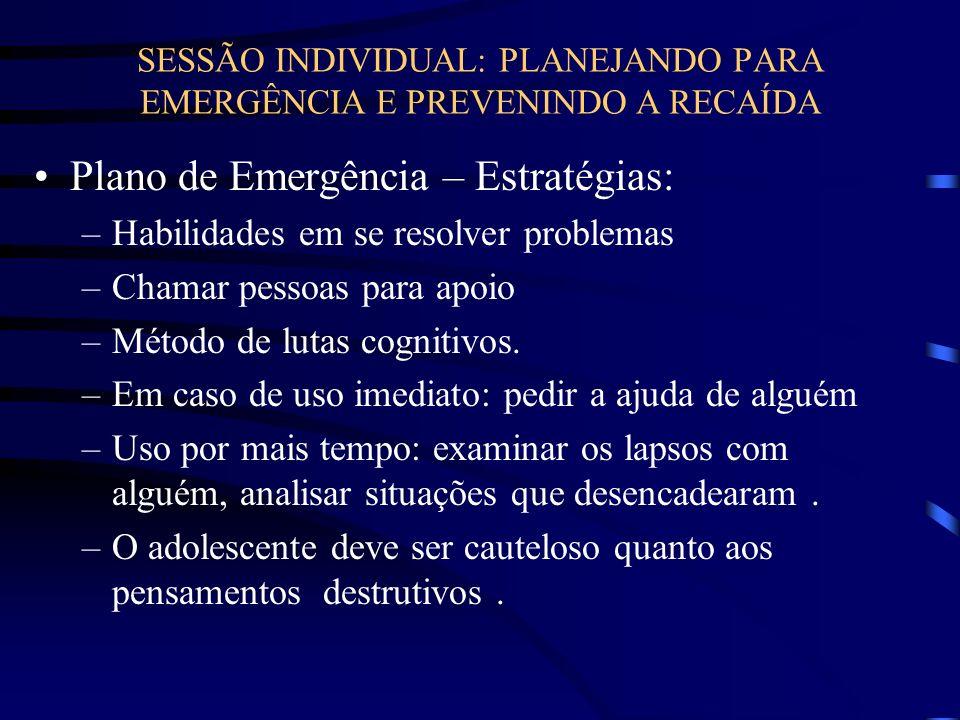 SESSÃO INDIVIDUAL: PLANEJANDO PARA EMERGÊNCIA E PREVENINDO A RECAÍDA Plano de Emergência – Estratégias: –Habilidades em se resolver problemas –Chamar