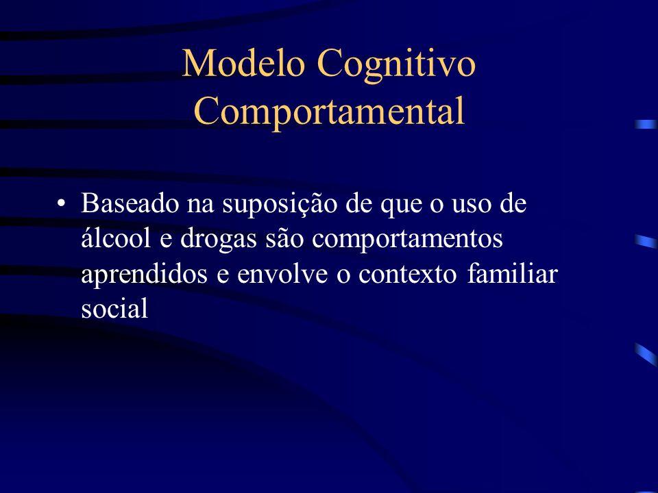 Modelo Cognitivo Comportamental Baseado na suposição de que o uso de álcool e drogas são comportamentos aprendidos e envolve o contexto familiar socia