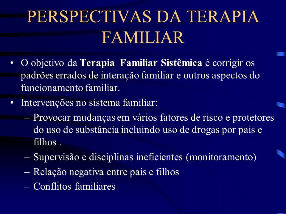 TERAPIA FAMILIAR INTEGRATIVA E COMPORTAMENTAL Baseia-se no reconhecimento de que o uso de substância e outros problemas de comportamento relacionados, derivam de várias fontes de influência e ocorre no contexto de sistemas múltiplos.