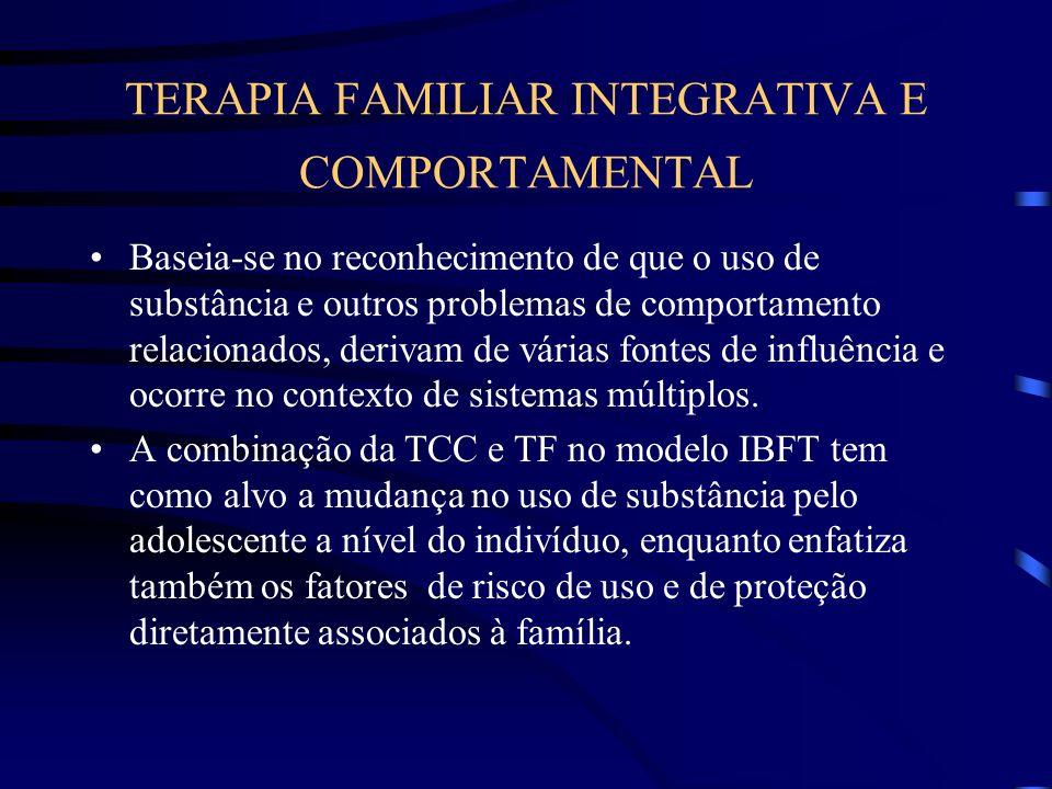 TERAPIA FAMILIAR INTEGRATIVA E COMPORTAMENTAL Baseia-se no reconhecimento de que o uso de substância e outros problemas de comportamento relacionados,