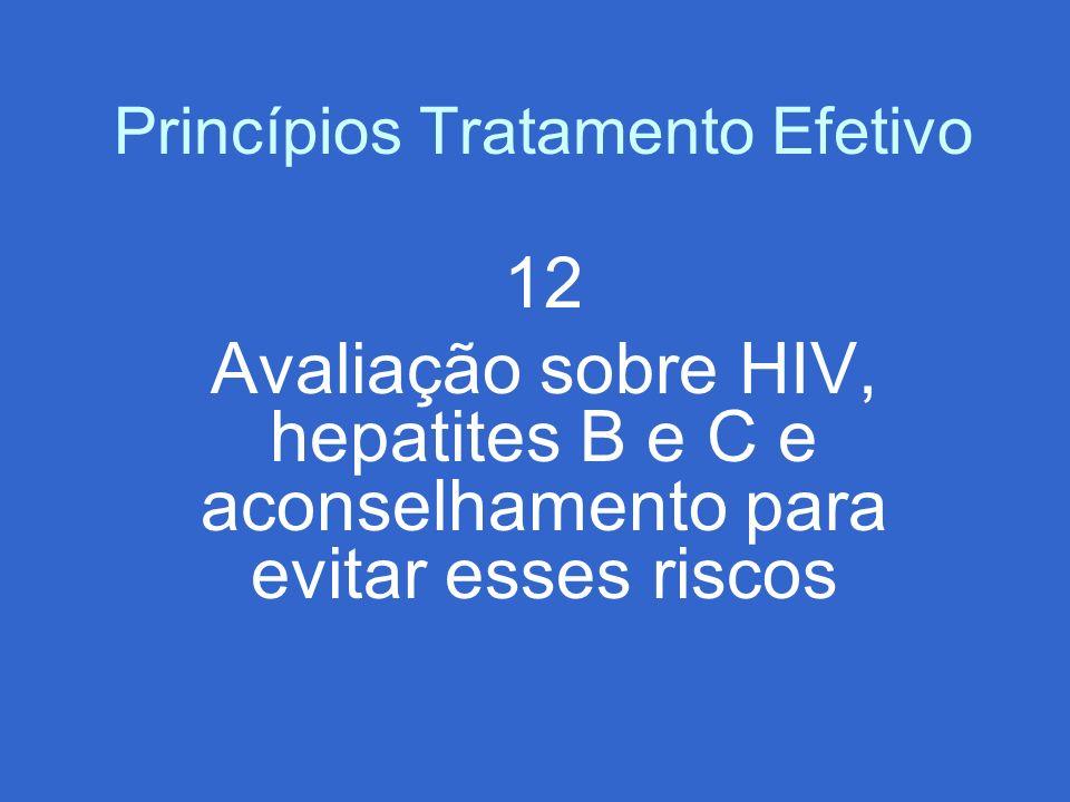 Princípios Tratamento Efetivo 12 Avaliação sobre HIV, hepatites B e C e aconselhamento para evitar esses riscos