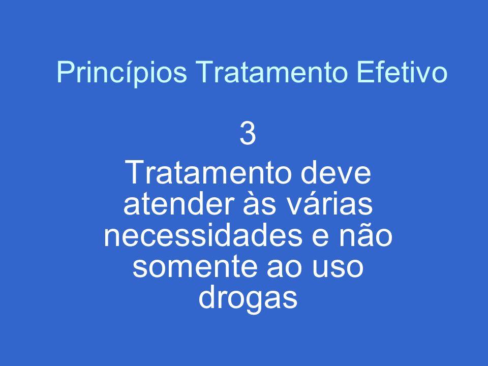 Princípios Tratamento Efetivo 3 Tratamento deve atender às várias necessidades e não somente ao uso drogas