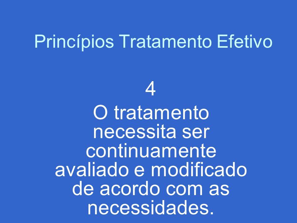 Princípios Tratamento Efetivo 4 O tratamento necessita ser continuamente avaliado e modificado de acordo com as necessidades.