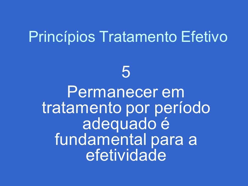 Princípios Tratamento Efetivo 5 Permanecer em tratamento por período adequado é fundamental para a efetividade