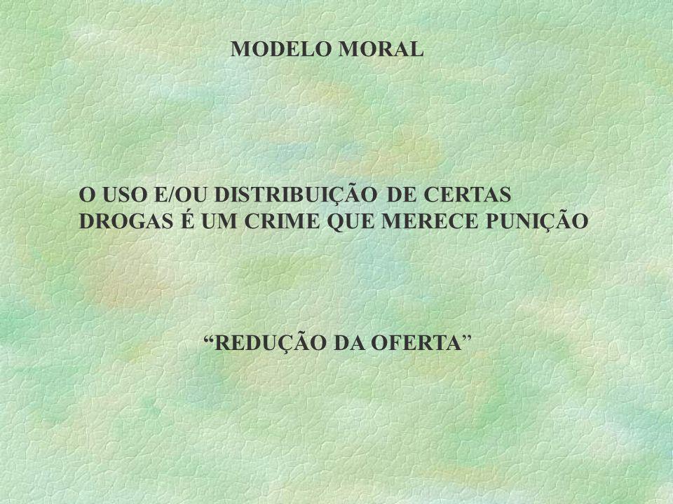 MODELO MORAL O USO E/OU DISTRIBUIÇÃO DE CERTAS DROGAS É UM CRIME QUE MERECE PUNIÇÃO REDUÇÃO DA OFERTA