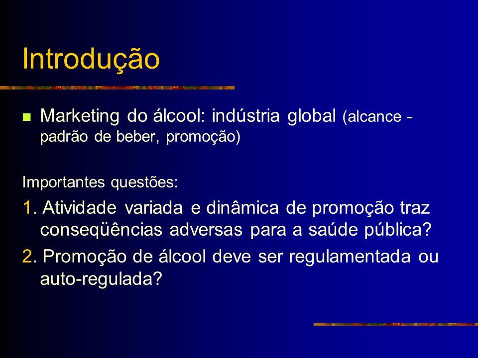 Introdução Marketing do álcool: indústria global (alcance - padrão de beber, promoção) Importantes questões: 1. Atividade variada e dinâmica de promoç