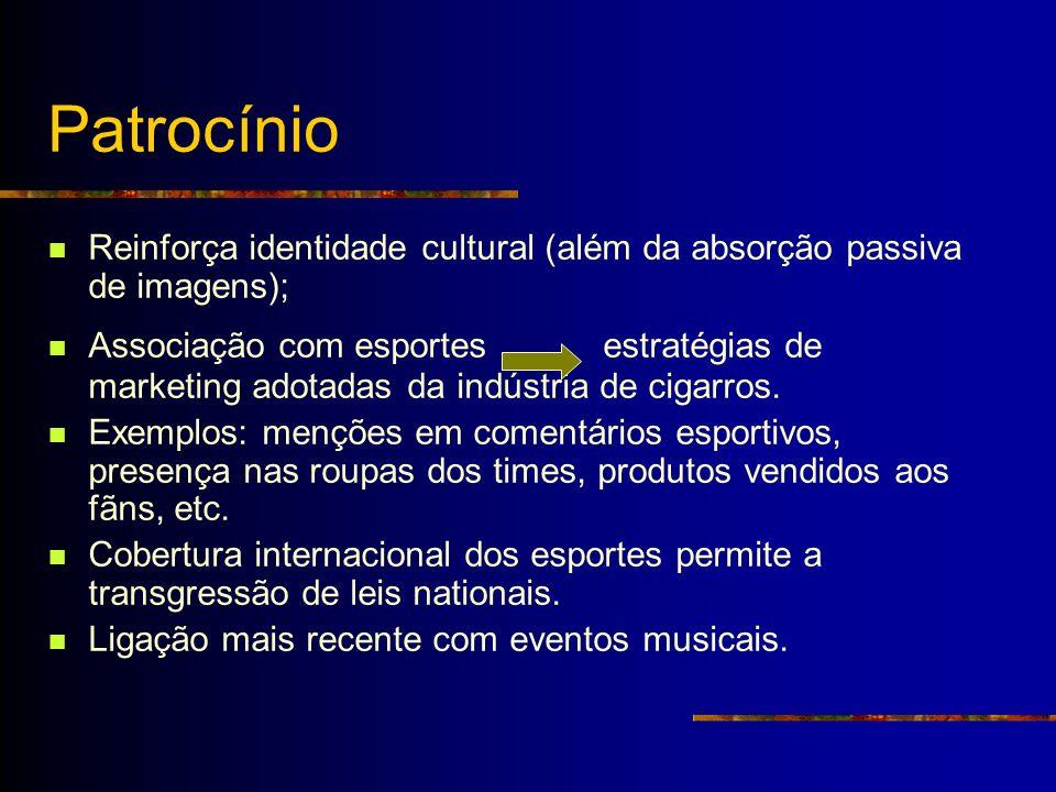 Patrocínio Reinforça identidade cultural (além da absorção passiva de imagens); Associação com esportes estratégias de marketing adotadas da indústria