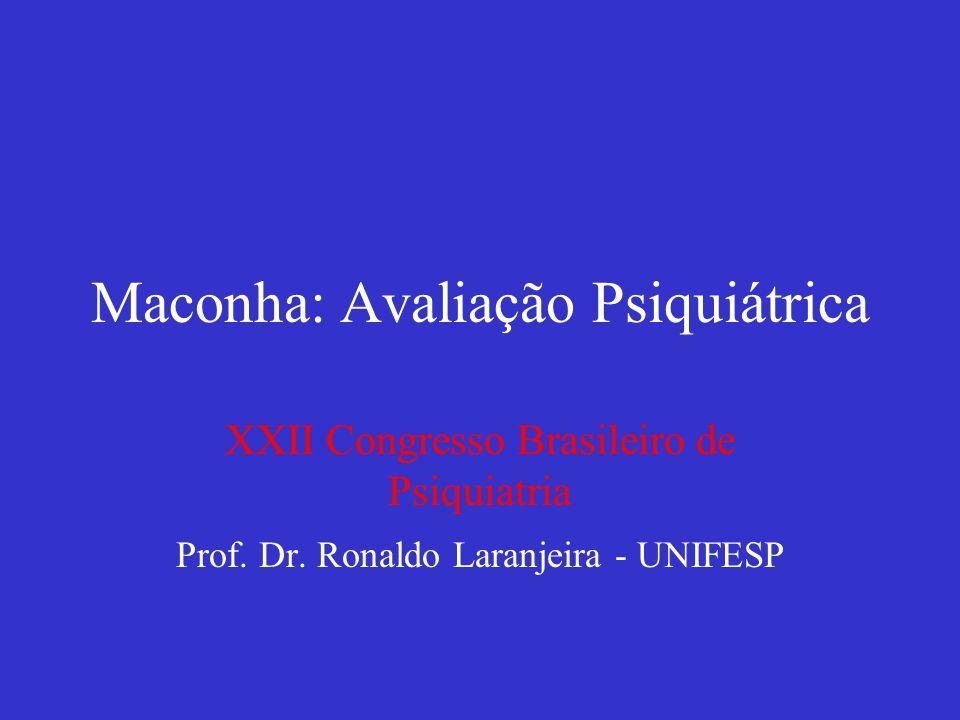 Maconha: Avaliação Psiquiátrica XXII Congresso Brasileiro de Psiquiatria Prof. Dr. Ronaldo Laranjeira - UNIFESP