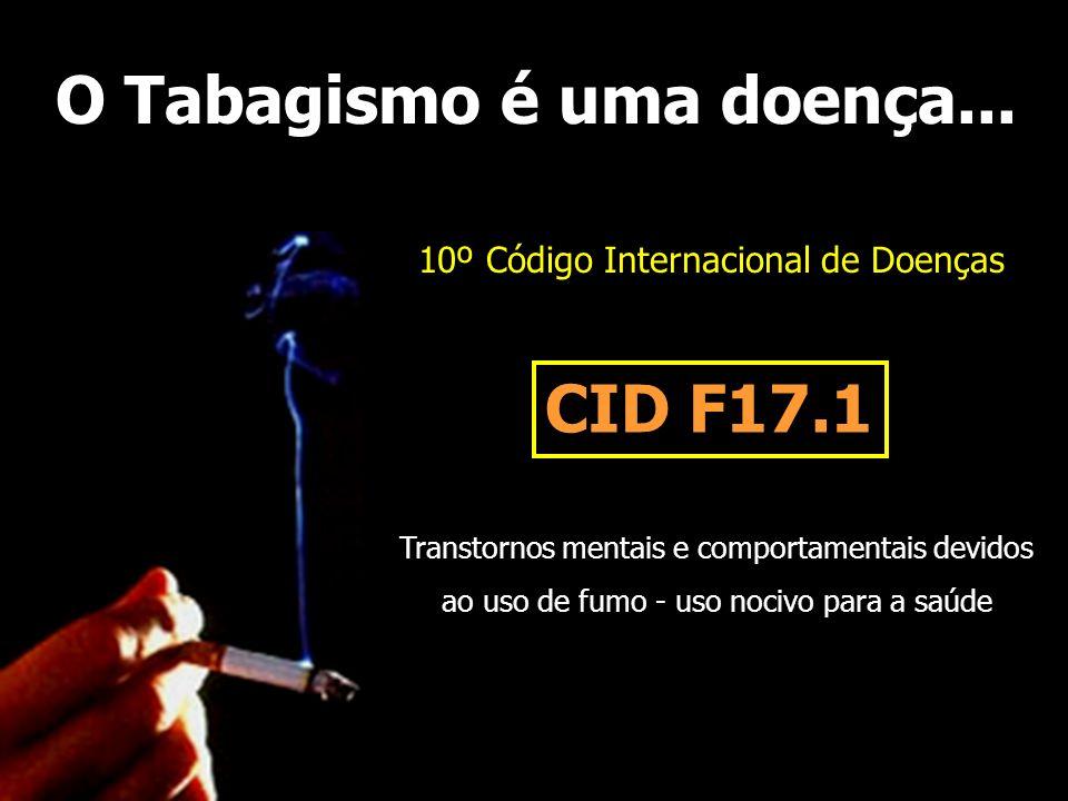 O Tabagismo é uma doença... 10º Código Internacional de Doenças CID F17.1 Transtornos mentais e comportamentais devidos ao uso de fumo - uso nocivo pa