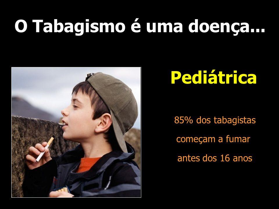 O Tabagismo é uma doença... Pediátrica 85% dos tabagistas começam a fumar antes dos 16 anos
