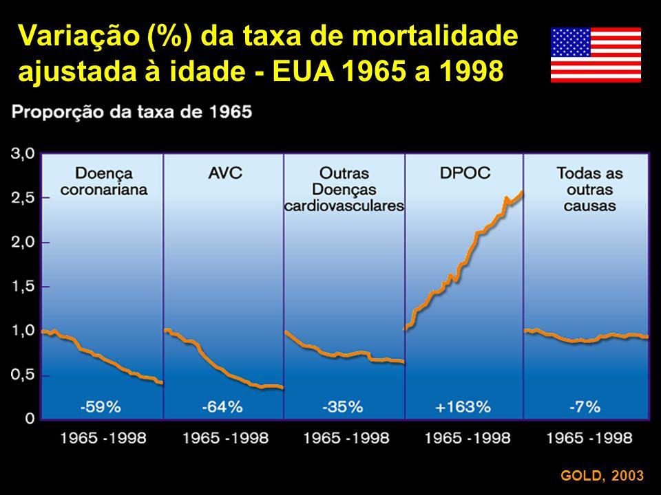 Variação (%) da taxa de mortalidade ajustada à idade - EUA 1965 a 1998 GOLD, 2003
