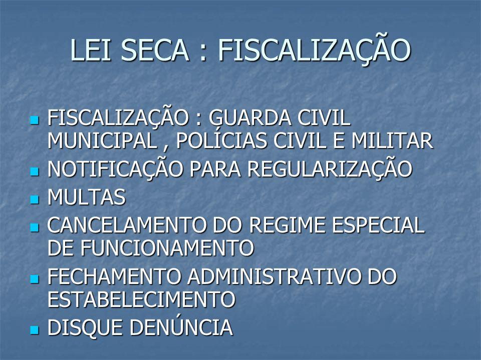 LEI SECA : FISCALIZAÇÃO FISCALIZAÇÃO : GUARDA CIVIL MUNICIPAL, POLÍCIAS CIVIL E MILITAR FISCALIZAÇÃO : GUARDA CIVIL MUNICIPAL, POLÍCIAS CIVIL E MILITA