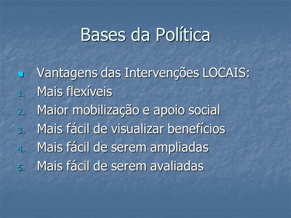 Bases da Política Vantagens das Intervenções LOCAIS: Vantagens das Intervenções LOCAIS: 1. Mais flexíveis 2. Maior mobilização e apoio social 3. Mais