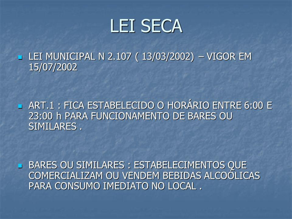 LEI SECA LEI MUNICIPAL N 2.107 ( 13/03/2002) – VIGOR EM 15/07/2002 LEI MUNICIPAL N 2.107 ( 13/03/2002) – VIGOR EM 15/07/2002 ART.1 : FICA ESTABELECIDO