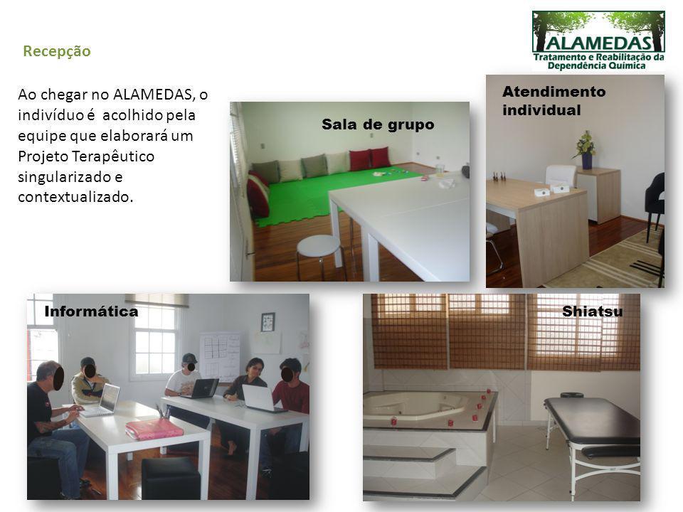 Recepção Ao chegar no ALAMEDAS, o indivíduo é acolhido pela equipe que elaborará um Projeto Terapêutico singularizado e contextualizado. Sala de grupo