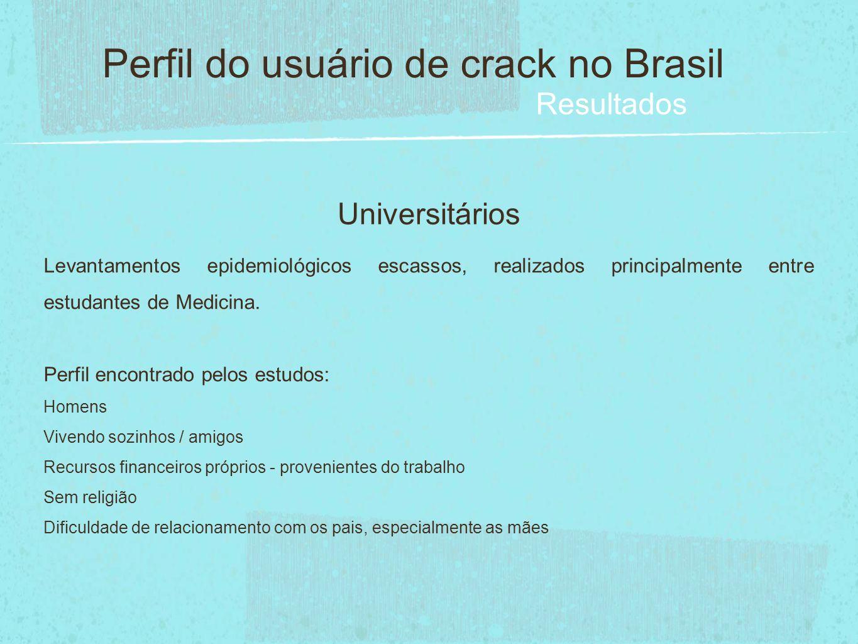 Universitários Perfil do usuário de crack no Brasil Resultados Levantamentos epidemiológicos escassos, realizados principalmente entre estudantes de M