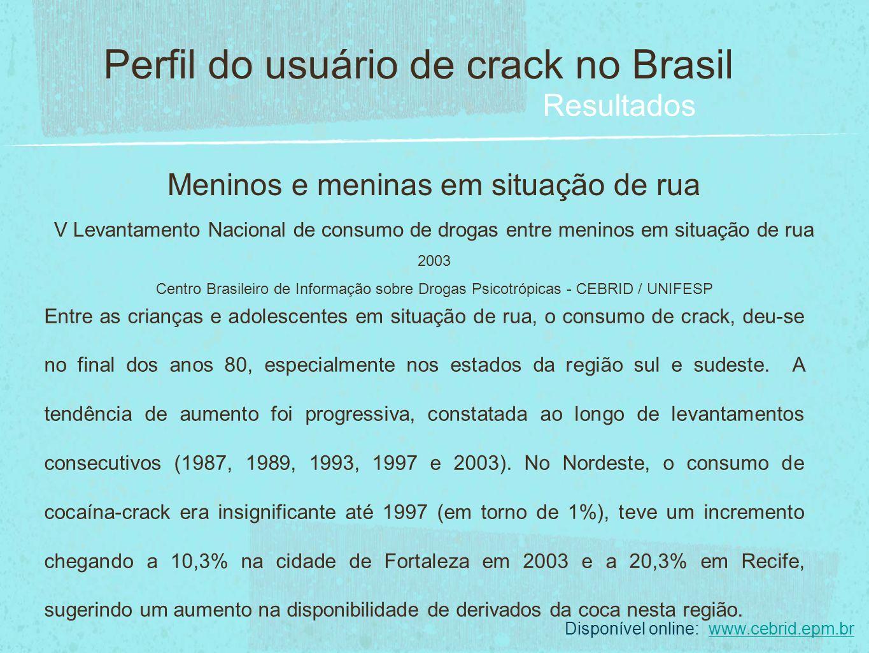 Meninos e meninas em situação de rua V Levantamento Nacional de consumo de drogas entre meninos em situação de rua 2003 Centro Brasileiro de Informaçã