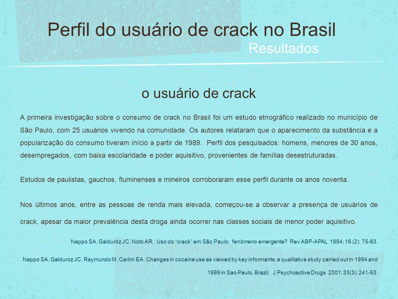 o usuário de crack A primeira investigação sobre o consumo de crack no Brasil foi um estudo etnográfico realizado no município de São Paulo, com 25 us