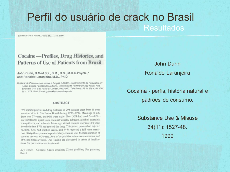 Perfil do usuário de crack no Brasil Resultados John Dunn Ronaldo Laranjeira Cocaína - perfis, história natural e padrões de consumo. Substance Use &
