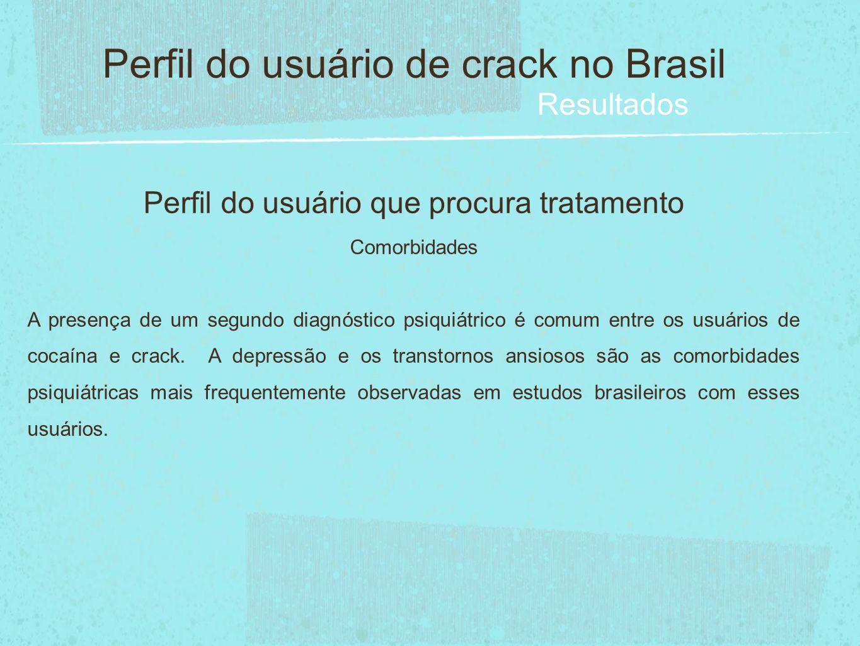 Perfil do usuário que procura tratamento Comorbidades A presença de um segundo diagnóstico psiquiátrico é comum entre os usuários de cocaína e crack.