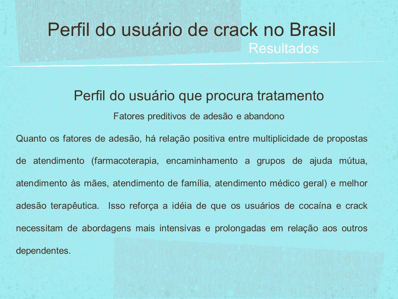 Perfil do usuário que procura tratamento Fatores preditivos de adesão e abandono Perfil do usuário de crack no Brasil Resultados Quanto os fatores de