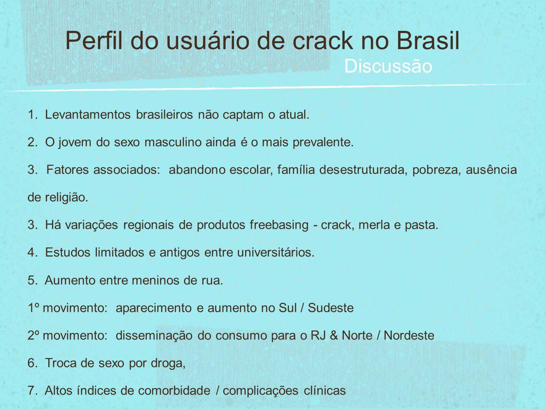 1. Levantamentos brasileiros não captam o atual. 2. O jovem do sexo masculino ainda é o mais prevalente. 3. Fatores associados: abandono escolar, famí