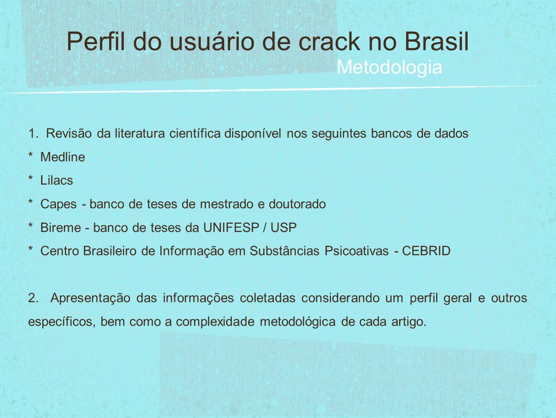 Levantamentos nacionais I & II Levantamentos domiciliares sobre uso de drogas psicotrópicas 2001 / 2005 Centro Brasileiro de Informação sobre Drogas Psicotrópicas - CEBRID / UNIFESP Perfil do usuário de crack no Brasil Resultados A prevalência sobre o uso na vida de cocaína nas 108 maiores cidades do Brasil, em 2005, foi de 2,9% - cerca de 1.459.000 pessoas - e de 2,3% em 2001.