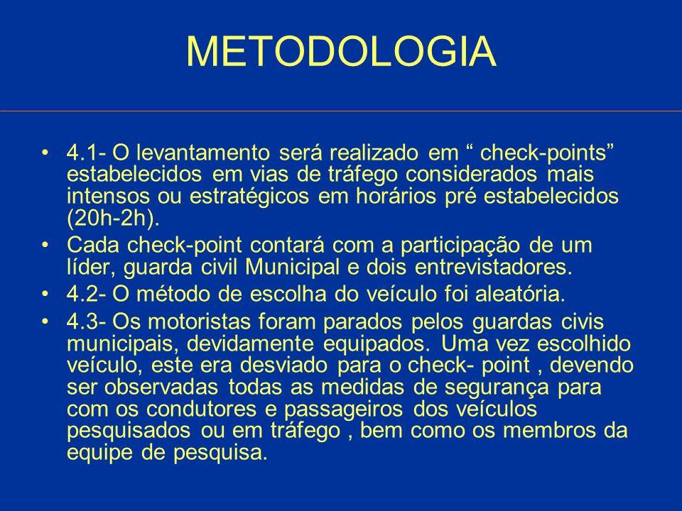 METODOLOGIA 4.1- O levantamento será realizado em check-points estabelecidos em vias de tráfego considerados mais intensos ou estratégicos em horários pré estabelecidos (20h-2h).