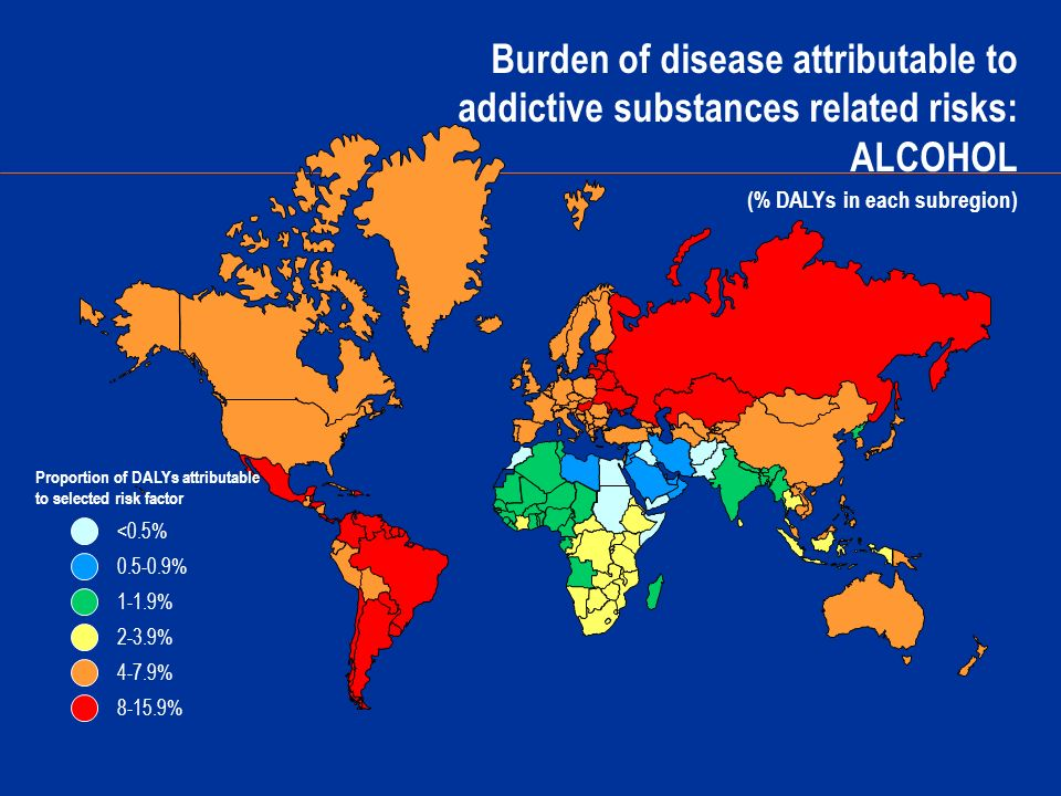 Burden of disease attributable to addictive substances related risks: ALCOHOL (% DALYs in each subregion) 0.5-0.9% 1-1.9% 2-3.9% 4-7.9% <0.5% 8-15.9% Proportion of DALYs attributable to selected risk factor