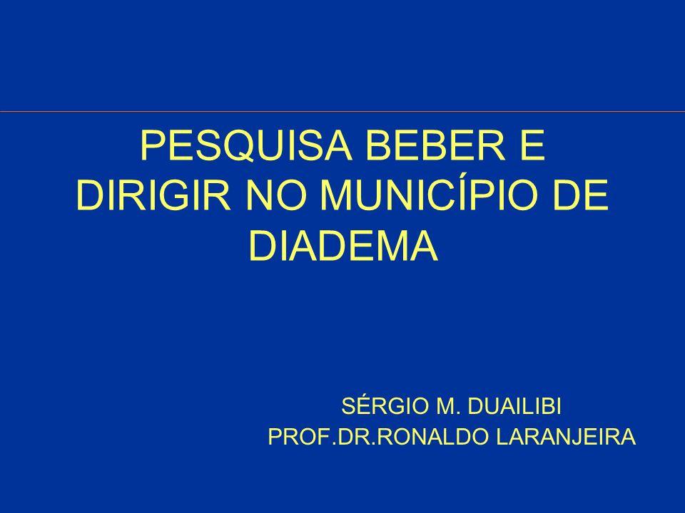 BEBER E DIRIGIR Objetivo Geral: Realizar levantamento de dados referente ao comportamento de beber e dirigir em condutores de veículos automotores em vias públicas de tráfego automobilístico na cidade de Diadema -SP.