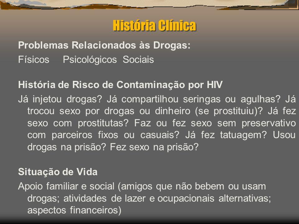História Clínica Problemas Relacionados às Drogas: FísicosPsicológicosSociais História de Risco de Contaminação por HIV Já injetou drogas? Já comparti