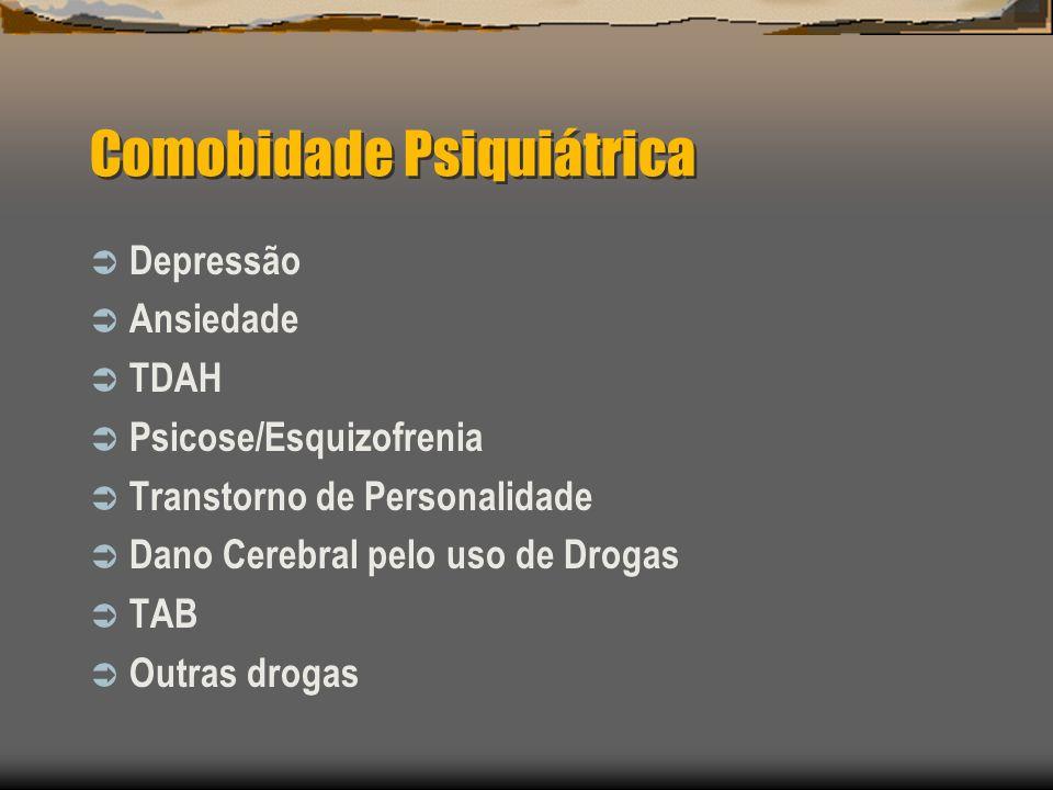 Comobidade Psiquiátrica Depressão Ansiedade TDAH Psicose/Esquizofrenia Transtorno de Personalidade Dano Cerebral pelo uso de Drogas TAB Outras drogas
