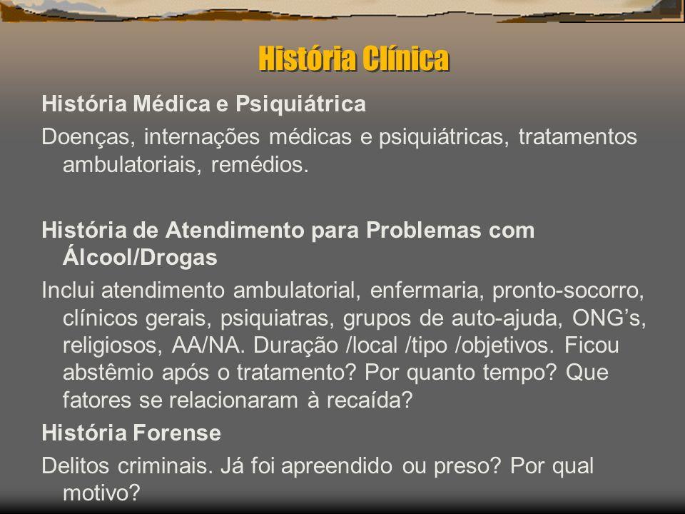 História Clínica História Médica e Psiquiátrica Doenças, internações médicas e psiquiátricas, tratamentos ambulatoriais, remédios. História de Atendim