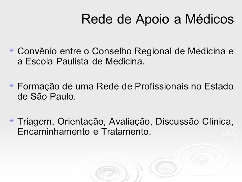 Convênio entre o Conselho Regional de Medicina e a Escola Paulista de Medicina. Formação de uma Rede de Profissionais no Estado de São Paulo. Triagem,