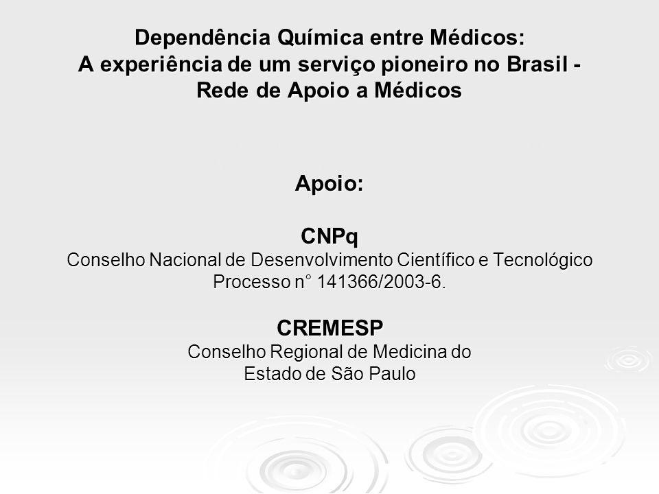 Apoio:CNPq Conselho Nacional de Desenvolvimento Científico e Tecnológico Processo n° 141366/2003-6. CREMESP Conselho Regional de Medicina do Estado de