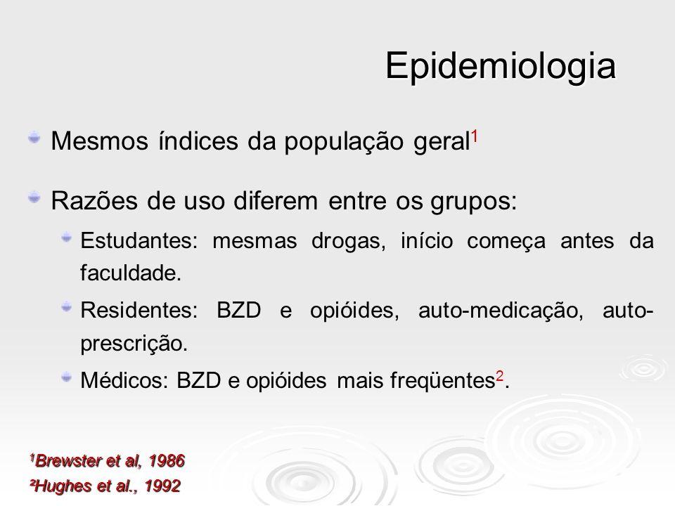 Epidemiologia Mesmos índices da população geral 1 Razões de uso diferem entre os grupos: Estudantes: mesmas drogas, início começa antes da faculdade.