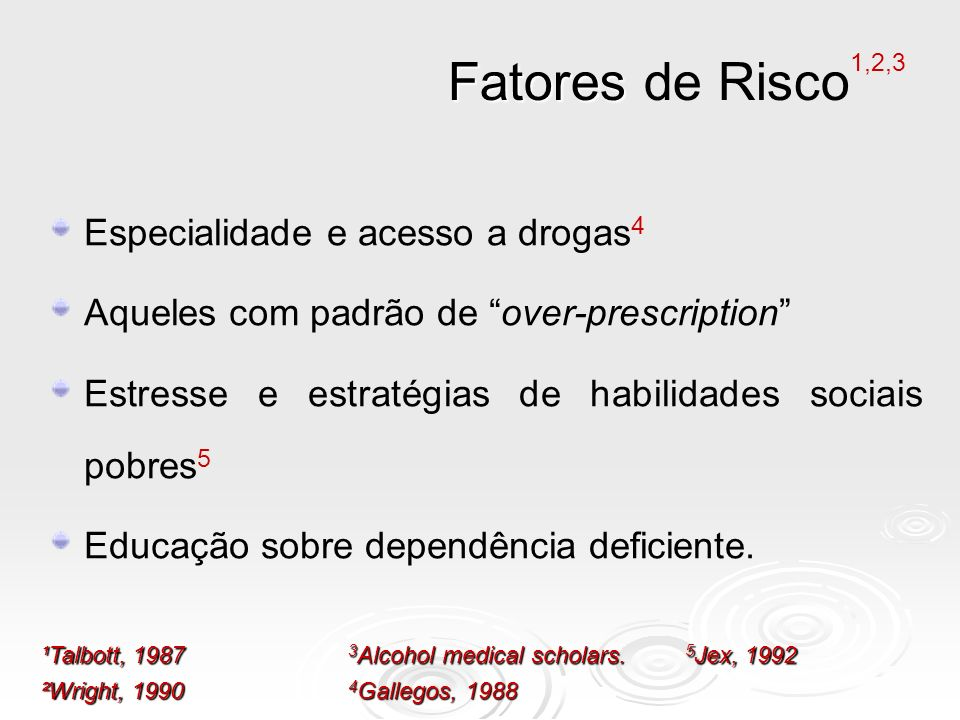 Fatores Fatores de Risco 1,2,3 Especialidade e acesso a drogas 4 Aqueles com padrão de over-prescription Estresse e estratégias de habilidades sociais