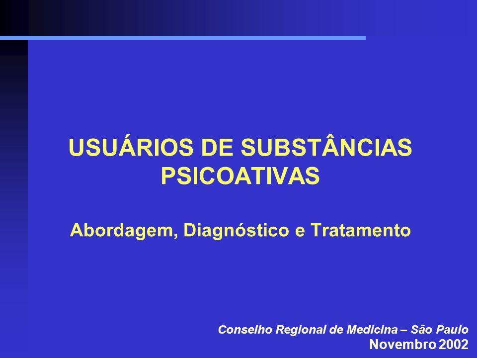 USUÁRIOS DE SUBSTÂNCIAS PSICOATIVAS Abordagem, Diagnóstico e Tratamento Conselho Regional de Medicina – São Paulo Novembro 2002