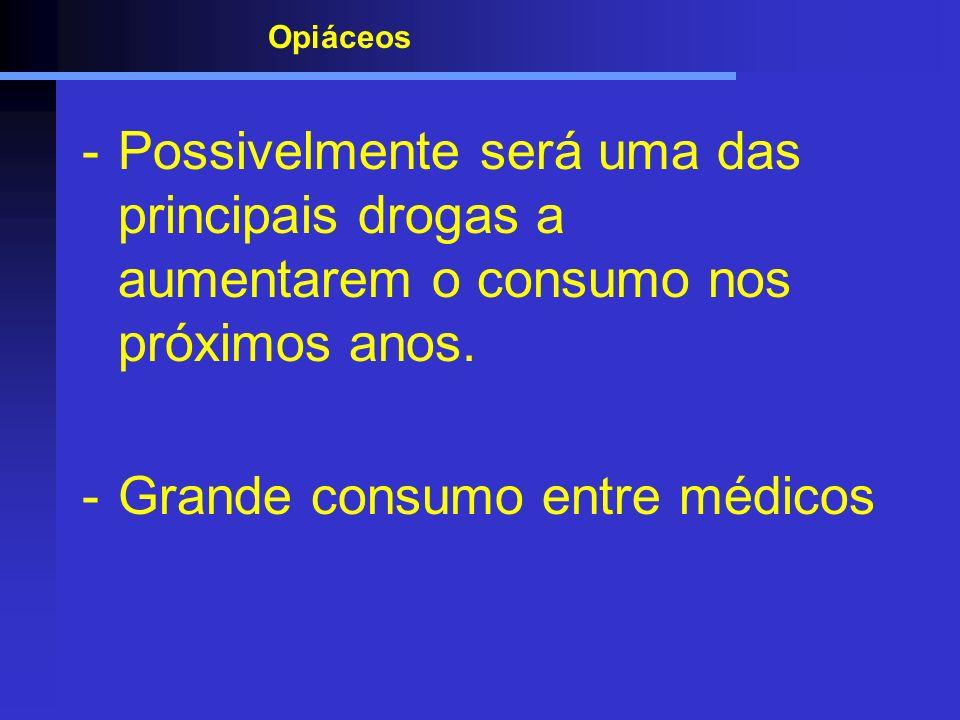 Opiáceos -Possivelmente será uma das principais drogas a aumentarem o consumo nos próximos anos. -Grande consumo entre médicos