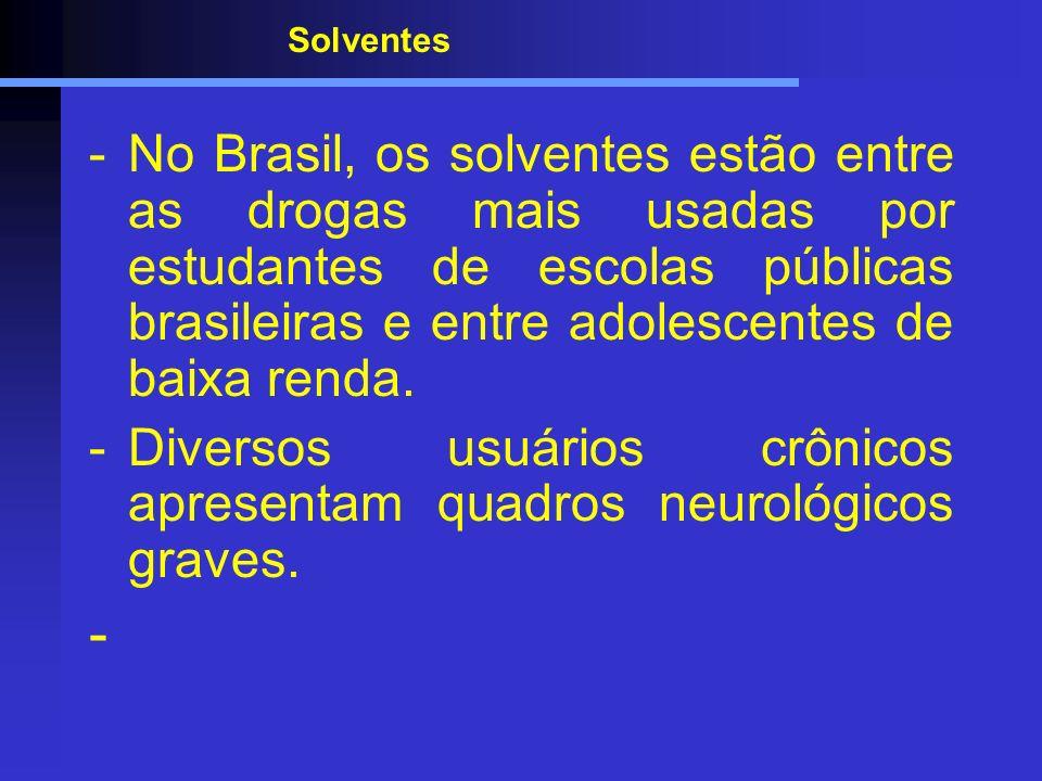 Solventes -No Brasil, os solventes estão entre as drogas mais usadas por estudantes de escolas públicas brasileiras e entre adolescentes de baixa rend