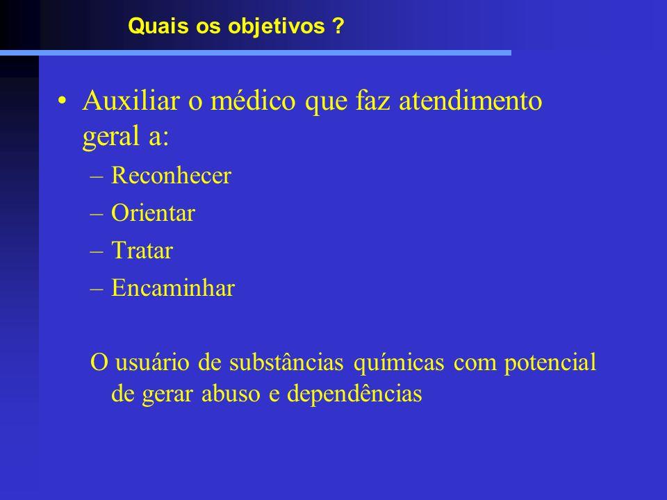 Quais os objetivos ? Auxiliar o médico que faz atendimento geral a: –Reconhecer –Orientar –Tratar –Encaminhar O usuário de substâncias químicas com po
