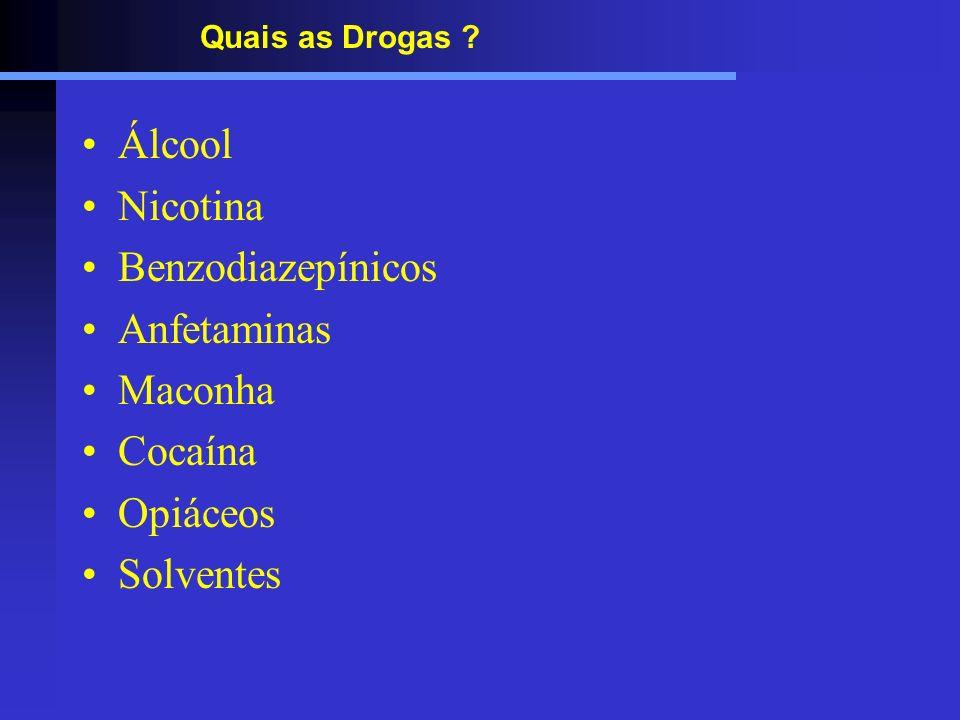 Quais as Drogas ? Álcool Nicotina Benzodiazepínicos Anfetaminas Maconha Cocaína Opiáceos Solventes