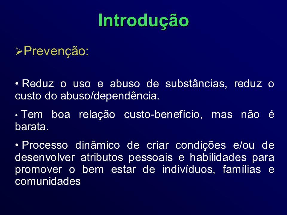 Introdução Prevenção: Reduz o uso e abuso de substâncias, reduz o custo do abuso/dependência.