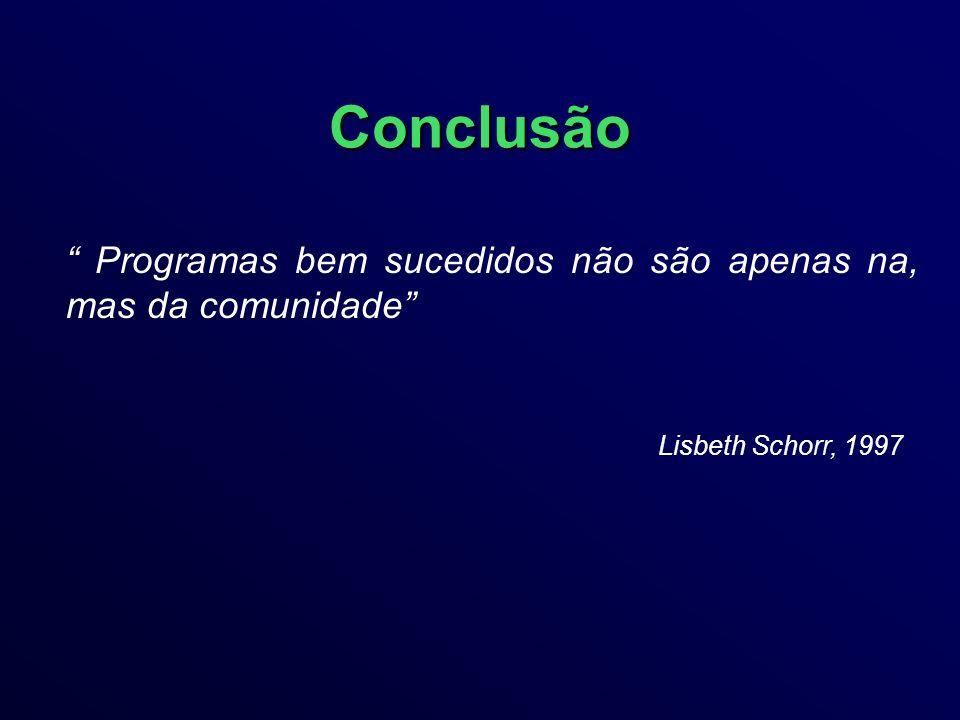 Conclusão Programas bem sucedidos não são apenas na, mas da comunidade Lisbeth Schorr, 1997