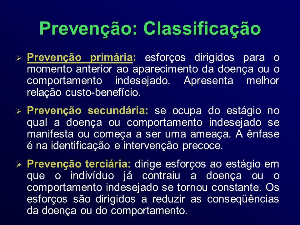 Prevenção: Classificação Prevenção primária: esforços dirigidos para o momento anterior ao aparecimento da doença ou o comportamento indesejado.