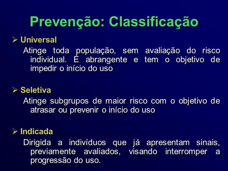 Prevenção: Classificação Universal Universal Atinge toda população, sem avaliação do risco individual.