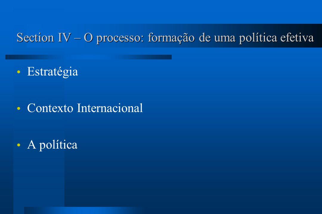 Section IV – O processo: formação de uma política efetiva Estratégia Contexto Internacional A política